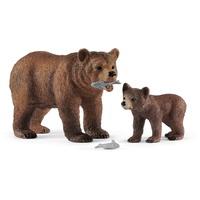 Schleich Wild Life-Grizzlybär-Mutter mit Jungem