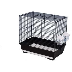 decorwelt Vogelkäfige XL Schwarz Außenmaße 40x25,5x38,5 cm Urlaub Reisekäfig Zubehör Wellensittich Futternapf Kanarienkäfig Plastik Vogel Modell KS9