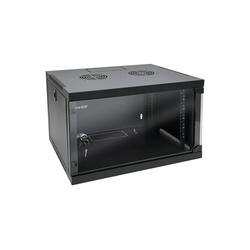 HMF Serverschrank 19 Zoll, 6-9 HE Netzwerk-Switch (6 HE, Netzwerkschrank, voll montiert, 54 x 44,5 x 35 cm, Schwarz) schwarz 54 cm x 35 cm x 44.5 cm