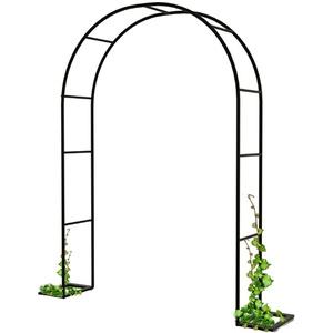 CHEIRS Gartenbogen,Rosenbogen aus Metall,für Pflanzen zur Unterstützung von Rosen, die Torbogen-Gartendekoration,schwarz,120×220cm