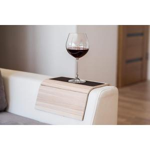 Armlehnenschoner aus Holz für Sofa Tisch Sofa Tisch Untersetzer Sofa Tablett Telefonhalter mit Stoff 1.light