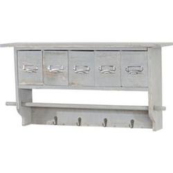Küchenregal MCW-C49, Haushaltsregal Regal, Vintage mit 5 Schubladen 32x65x13cm ~ Shabby Look, grau