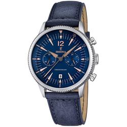 Festina Chronograph UF16870/2 Festina Herren Uhr F16870/2 Chronograph, (Chronograph), Herren Armbanduhr rund, Lederarmband blau