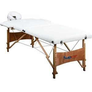 Movit Massageliege weiß, höhenverstellbar, klappbar, Holz