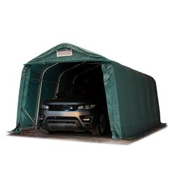 Toolport Zeltgarage 3,3x6,0m PVC 550 g/m² dunkelgrün wasserdicht Garagenzelt