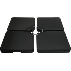 Kreuzfuß-Schirmständer 4er Set Platten 50 x 50 cm schwarz