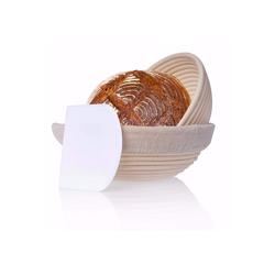 riijk Gärkorb Gärkorb inkl. Gratis Teigschaber, (Inhalt), Gärkorb 2er Set + Teigschaber, 2 Gärkörbe für Brot und Brotteig - Peddigrohr (rund, 22 und 25 cm) mit Leineneinsatz, rostfrei geklammert