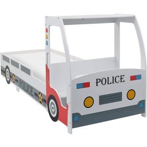 Tidyard Kinderbett im Polizeiauto-Design mit Schreibtisch for Kids Autobett Autobett Kinderbett Bett Gesamtmaße:260,5 x 97 x 117 cm (L x B x H),MDF-Rahmen + Holz-Lattenrost,Mehrfarbig