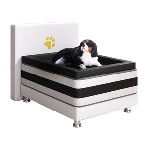 Inter Handels Doggy Boxspringbett, 100% Polyester, Weiss, 180x200 cm