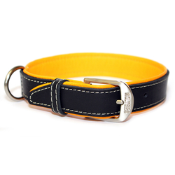 Wolters Halsband Terranova Fettleder, 65cm x 40mm schwarz/mango