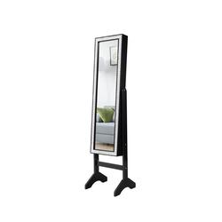 COSTWAY Schmuckschrank Spiegelschrank, Standspiegel mit Spiegel, für alle Arten von Schmuck schwarz