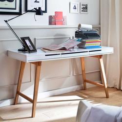 Konsolen Schreibtisch in Weiß Buche 140 cm breit