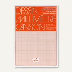 Canson Millimeterpapier-Block, DIN A3, 90g/m², weiß/orange, 50 Blatt, 200067503