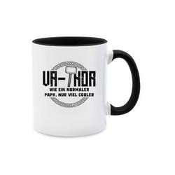 Shirtracer Tasse Va-Thor wie ein normaler Papa nur viel cooler - schwarz - Tasse zweifarbig, Keramik