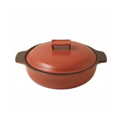 WALD Kochtopf Keramik-Kochtopf klein flach, ziegelrot
