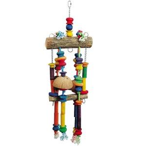 Papageienspielzeug Hanf und Holz 63 cm
