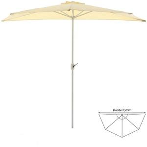 Balkon Sonnenschirm beige halbrund 2,7m Polyester 160 g/m2  Höhe 2,35m Kurbel
