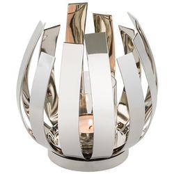 Fink Windlicht ORFEA (1 Stück), aus Edelstahl inkl. Glaszylinder, verspielt und gradlinig silberfarben Ø 18,50 cm x 20 cm