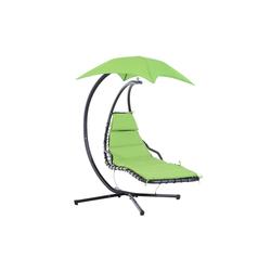 Outsunny Gartenliege Schwingliege mit Sonnenschutz grün