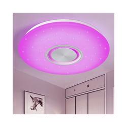 Natsen Deckenleuchte, Bluetooth Deckenlampe LED mit Lautsprecher dimmbar (36W Weiß RGB+Fernbedienung) Ø 50 cm x 5.5 cm