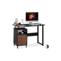 relaxdays Schreibtisch Schreibtisch mit Glasplatte schwarz