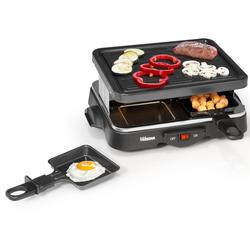 Tristar Raclette, 4 Raclettepfännchen, 500 W, Mini Raclette Gerät für 2-4 Personen, eckiger Tischgrill mit 500 Watt, Raclet Camping geeignet