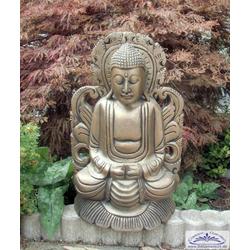 Buddha beim Gebet mit Schrein Figur Buddafigur 47 cm 6 kg (Farbe: altgold)