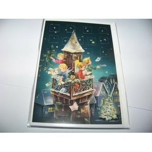 Nostalgische Adventskalender - Karte Engel im Kirchturm