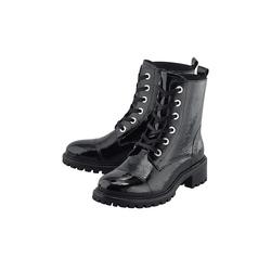 Schnür-Boots Lack-Boots COX schwarz