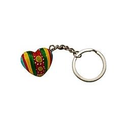 Schlüsselanhänger Herz bunt, türkis/rot/gelb/grün/rot