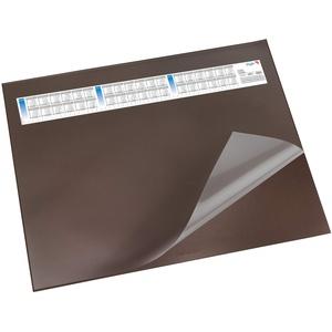 Läufer 44652 Durella DS Schreibtischunterlage mit transparenter Auflage und Kalender, rutschfeste Schreibunterlage, verschiedene Farben, 52 x 65cm, braun