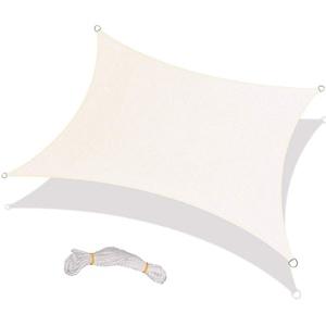 Lamf Rechteckiges Sonnensegel, 2,4 x 2,4 m, UV-Block, rechteckiger Sonnenschutz, Stoff, getapter Rand mit Ösen, Sonnenschutznetz für Terrasse, inklusive vier 1,5 m Seilen
