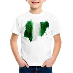 style3 Print-Shirt Kinder T-Shirt Flagge Nigeria Fußball Sport Afrika WM EM Fahne weiß 104
