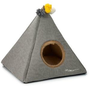 Zelt Tipi für Katzen oder kleine Hunde aus Stoff Jute mit kuscheligem Kissen