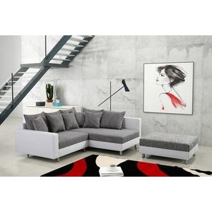 Küchen-Preisbombe Sofa Modernes Sofa Couch Ecksofa Eckcouch in weiss Eckcouch mit Hocker - Minsk R, Ecksofa + Hocker