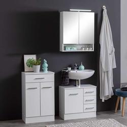Badezimmermöbel Set in Weiß 110 cm breit (3-teilig)