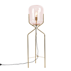Art Deco Stehlampe Messing mit rosa Glas - Bliss