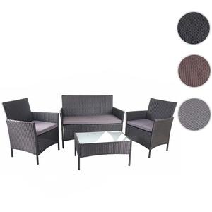 Poly-Rattan Garten-Garnitur HWC-D82, Sitzgruppe Lounge-Garnitur ~ schwarz mit Kissen anthrazit