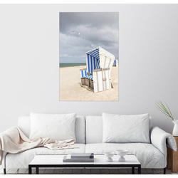 Posterlounge Wandbild, Möwe und Strandkorb auf Sylt 100 cm x 150 cm