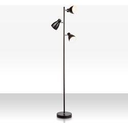 B.K.Licht Stehlampe, LED Design Stehleuchte Metall Deckenfluter Leuchte schwenkbar E27 schwarz
