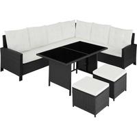 Tectake Rattan Lounge mit Stahlgestell Barletta schwarz