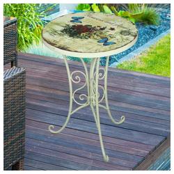 etc-shop Gartentisch, Kleiner Gartentisch Retro Beistelltisch Metall Blumen Balkontisch klein rund, Eisen altweiß, DxH 38 x 53 cm
