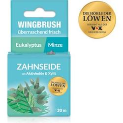 Wingbrush Zahnseide Eukalyptus/Minze 30m schwarz mit Aktivkohle & Xylit