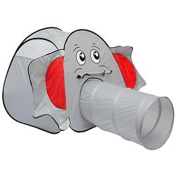 Kinder Pop Up Spielzelt mit Tunnel- Bällebad Kinderzelt Elefant grau