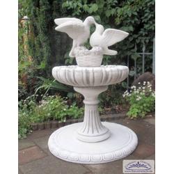 Vogeltränke mit Wasserschale und Taubenfigur als Vogelbad als Gartendeko Brunnen 87cm 52kg