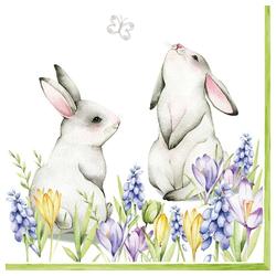 Linoows Papierserviette 20 Servietten, Ostern, Hasen Pärchen auf der Frühl, Motiv Ostern, Hasen Pärchen