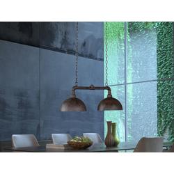 FISCHER & HONSEL LED Pendelleuchte, Industrial Style Wasser-Rohr Rost-Optik 2-flammig, Industrie-Lampe Esszimmer-Lampe für über Esstisch Kücheninsel