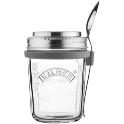 KILNER Vorratsglas, Glas, Edelstahl, (1-tlg), für Jogurth, Quark, inkl. Edelstahllöffel, 350 ml