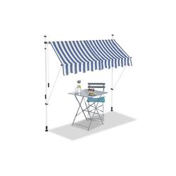 relaxdays Klemmmarkise Klemmmarkise blau weiß 200 cm x 120 cm x 300 cm