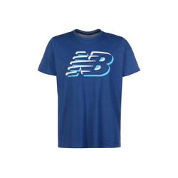 New Balance Trainingsshirt Graphic Heathertech blau L